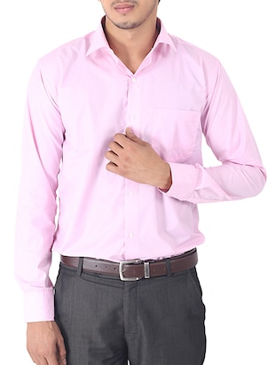solid light pink cotton formal shirt -  online shopping for formal shirts