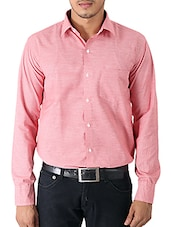 pink melange cotton formal shirt -  online shopping for formal shirts