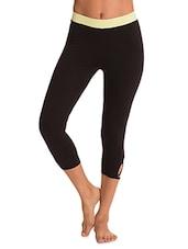 Black Stretchable Cotton Spandex Capri With Waist Belt Closure - By