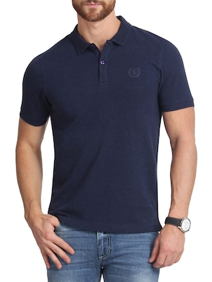 solid navy blue cotton polo t-shirt