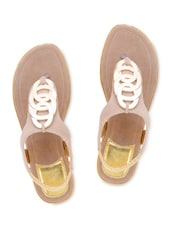 Beige Suede Sandals With Stretchable Loop Closure - By