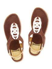 Brown Suede Sandals With Stretchable Loop Closure - By