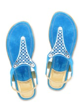 Blue Suede Sandals With Stretchable Loop Closure - By
