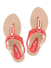 Red Faux Leather Sandals With Stretchable Loop Closure - By
