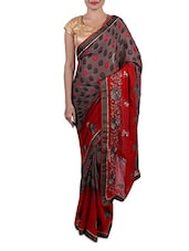 Red And Grey Embroidered Crepe Saree - By