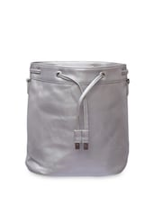 Silver Leatherette Sling Bag - By