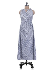 Blue Printed Polyester Maxi Dress - By