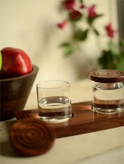 Transparent Storage Containers On A Wooden Tray - ExclusiveLane