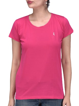 Solid Magenta Cotton T-Shirt