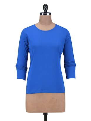 Solid Blue Cotton Full Sleeves Top