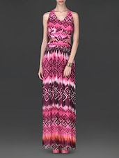 Printed Pink And Wine Maxi Dress - By