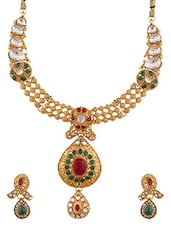 Stone Embellished Gold Plated Dabka Necklace Set - By