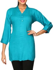 Blue Plain Cotton Lycra Short Kurti - By