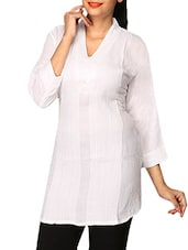 White Plain Cotton Lycra Short Kurti - By