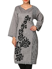 Multicolor  Embroidered Sleeve Cotton Kurti - By