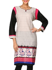 Black And Off-white Cotton Printed Kurti - By