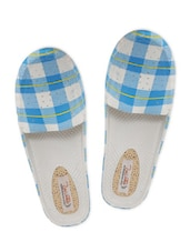 Blue And White Checker Open-Back Loafers - By