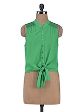 Green Knotted Sleeveless Top With Lace Work - By