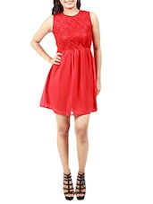 Red Poly Georgette, Lace Fabric DRESS - By
