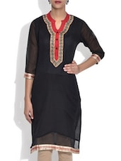 Black Embroidered Cotton Silk Kurti - By