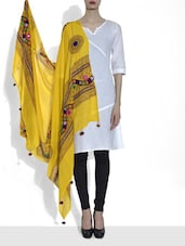 Yellow Embroidered Cotton Dupatta With Mirror Work - By