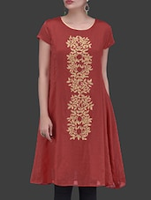 Red Embroidered Chanderi Silk Dress - By