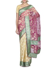 Cream And Pink Chanderi Silk Saree - By