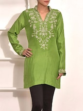 Pear Green Embroidered Pure Silk Kurti - By