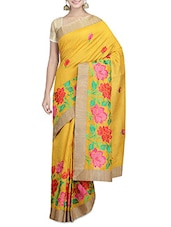 Floral Printed Yellow Tussar Silk Saree - By