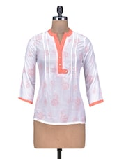 Printed White Cotton Top With Pin Tucks - By