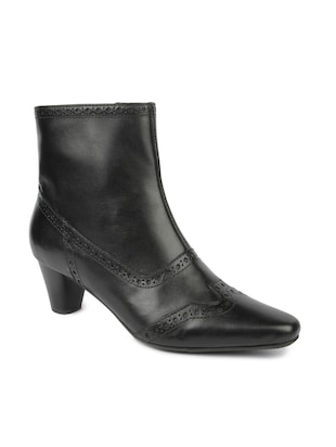 Black Zippered Leatherette boots