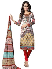 Printed Multicolored Cotton Satin Dress Material - By