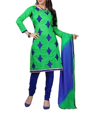 Green And Blue Embroidered Suit Set - By