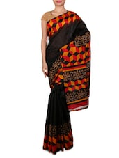 Black Printed Cotton Saree - By