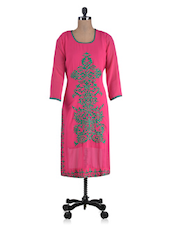 Pink Poly Georgette Embroidered Kurti - By