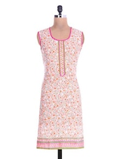 White And Pink Cotton Printed Kurti - By