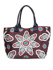 Floral Embroidered Brown Poly Dupion Tote - By