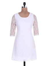Solid White Lace Sleeved Net Dress - By