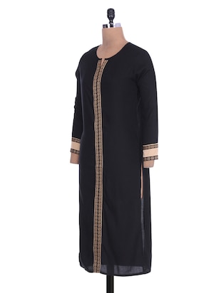 7de69a2efde8 Buy Black Rayon Lace Kurta for Women from Yufta for ₹400 at 60% off | 2019  Limeroad.com