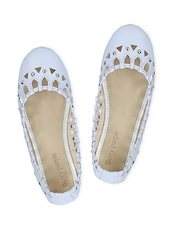White Cutout Faux Leather Studded Flats - By