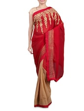 Red And Beige Embroidered Georgette Sari - By