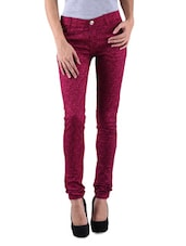 Pink Cotton Satin Lycra Printed Jeggings - By