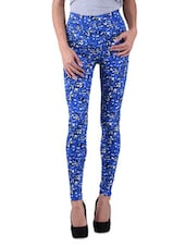 Blue Polyviscose Lycra Printed Jeggings - By