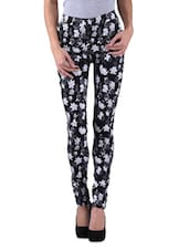 Black Polyviscose Lycra Printed Jeggings - By