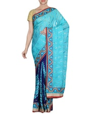 Shaded Blue Embroidered Chiffon Saree - By