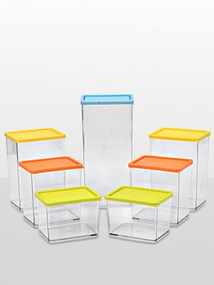 Multicolour poly carbonate set of 7 containers