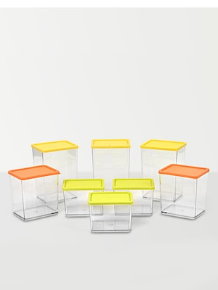 Multicolour poly carbonate set of 8 containers