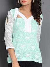 Mint Chikankari Poly Georgette Cut-out Top - By