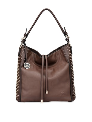 Studded Brown Leatherette Handbag -  online shopping for handbags