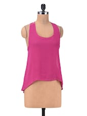 Pink Poly Georgette A-symmetric  Top With Racer Back - By